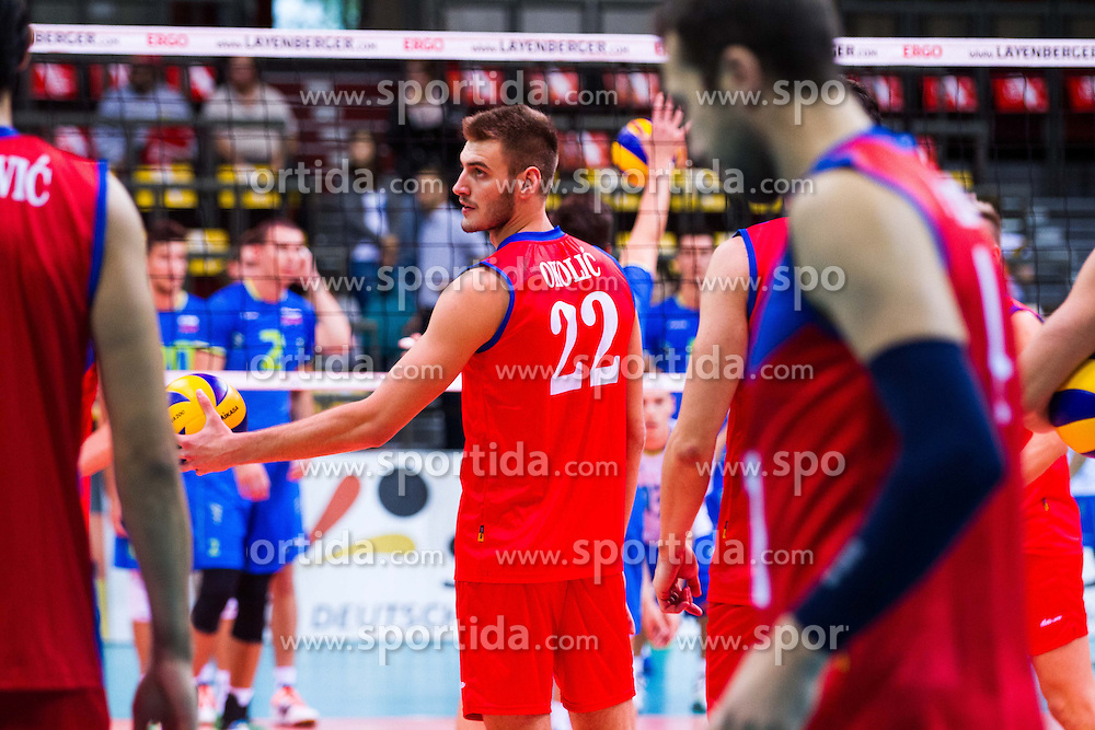 25.09.2015, MHP Aren, Ludwigsburg, GER, Volleyball Vier Nationen Turnier, Slowenien vs Serbien, im Bild Aleksandar Okolic #22 (Serbien/Serbia) // during the match between Slovenia and Serbia of the Volleyball four Nations Tournament at the MHP Aren in Ludwigsburg, Germany on 2015/09/25. EXPA Pictures &copy; 2015, PhotoCredit: EXPA/ Eibner-Pressefoto/ Wuechner<br /> <br /> *****ATTENTION - OUT of GER*****