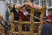 The new Lord Mayor Jeffrey Mountevans rides through the streets of the City of London, the capital's ancient financial district founded by the Romans in the 1st Century. This is the pageant's 800th birthday and the 250 year-old horse-drawn guided State Coach will be pulled through the medieval streets with the newly-elected Mayor along with 7,000 others. This first took place in 1215 making it the oldest and longest civil procession in the world which survived both Bubonic plague and the Blitz.