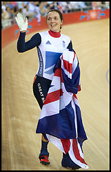 British track cyclist Victoria Pendleton wins Gold in the inaugural women's keirin with a thrilling sprint to the line in the 2012 London Olympic games, Friday August 3, 2012  Photo By i-Images