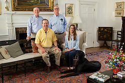 Buck, left, Tom, Henry and Anne Archer Hinkle photographed at the men's boyhood home in Bourbon County, Monday, April 18, 2016. <br /> <br /> Hinkle Farm is home to top stakes producing mares including Derby 142 favorite Nyquist and 2016 Ashland Stakes Weep No More.