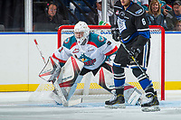 KELOWNA, CANADA - SEPTEMBER 2: Goalie Brodan Salmond #31 of the Kelowna Rockets defends the net against the Victoria Royals on September 2, 2017 at Prospera Place in Kelowna, British Columbia, Canada.  (Photo by Marissa Baecker/Shoot the Breeze)  *** Local Caption ***