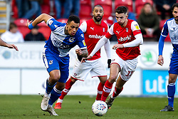 Jonson Clarke-Harris of Bristol Rovers takes on Dan Barlaser of Rotherham United - Mandatory by-line: Robbie Stephenson/JMP - 18/01/2020 - FOOTBALL - Aesseal New York Stadium - Rotherham, England - Rotherham United v Bristol Rovers - Sky Bet League One