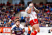 Hull Kingston Rovers winger Justin Carney (36) claims the high ball during the Betfred Super League match between Hull Kingston Rovers and Leeds Rhinos at the Lightstream Stadium, Hull, United Kingdom on 29 April 2018. Picture by Simon Davies.