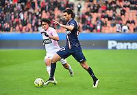 Javier PASTORE / Yeltsin TEJEDA - 18.01.2015 - Paris Saint Germain / Evian Thonon - 21eme journee de Ligue 1<br />Photo : Dave Winter / Icon Sport