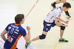Jan Klobucar of ACH and Ales Fabjan of ACH during volleyball game between OK Panvita Pomgrad and ACH Volley in Final of 1st DOL Slovenian National Championship 2014, on April 15, 2014 in Murska Sobota, Slovenia. Photo by Vid Ponikvar / Sportida