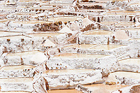 Salt pans near Maras, Peru.  The pans are fed by a natural spring and the salt has been collected since pre-Inca times.