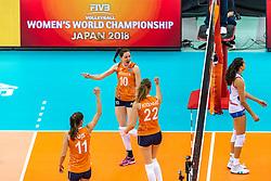 07-10-2018 JPN: World Championship Volleyball Women day 8, Nagoya<br /> Netherlands - Puerto Rico 3-0 / Lonneke Sloetjes #10 of Netherlands, Nicole Koolhaas #22 of Netherlands, Anne Buijs #11 of Netherlands