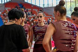 July 28, 2018 - Chieti, Abruzzo, Italy - Rhythmic coach Irina Deriugina and the team of Ukraine during the Rhythmic Gymnastics  pre World Championship Italy-Ukraine-Germany at Palatricalle on 29th of July 2018 in Chieti Italy. (Credit Image: © Franco Romano/NurPhoto via ZUMA Press)