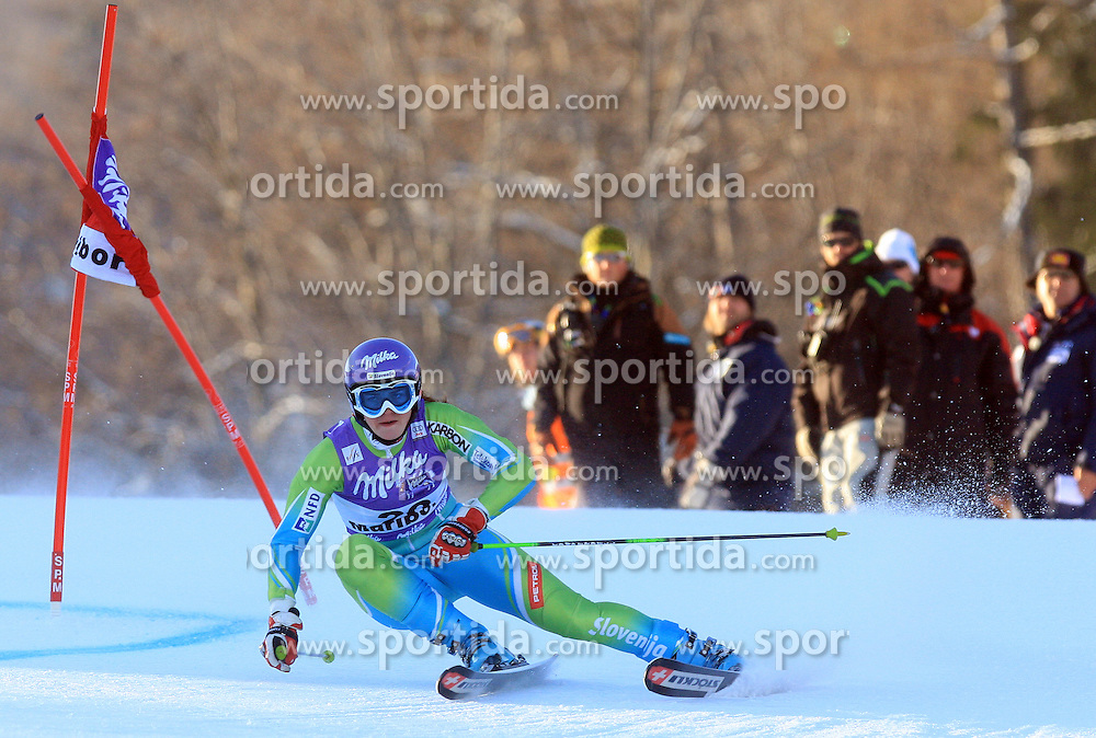 Tina Maze of Slovenia skiing in first run Maribor women giant slalom race of Audi FIS Ski World Cup 2008-09, in Maribor, Slovenia, on January 10, 2009. (Photo by Vid Ponikvar / Sportida)