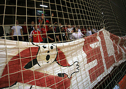 Red Tigers, fans of Slovan at handball game RD Slovan vs RD Merkur  in 7th round of MIK First league, on October 24, 2008 in Ljubljana, Slovenia. (Photo by Vid Ponikvar / Sportal Images)