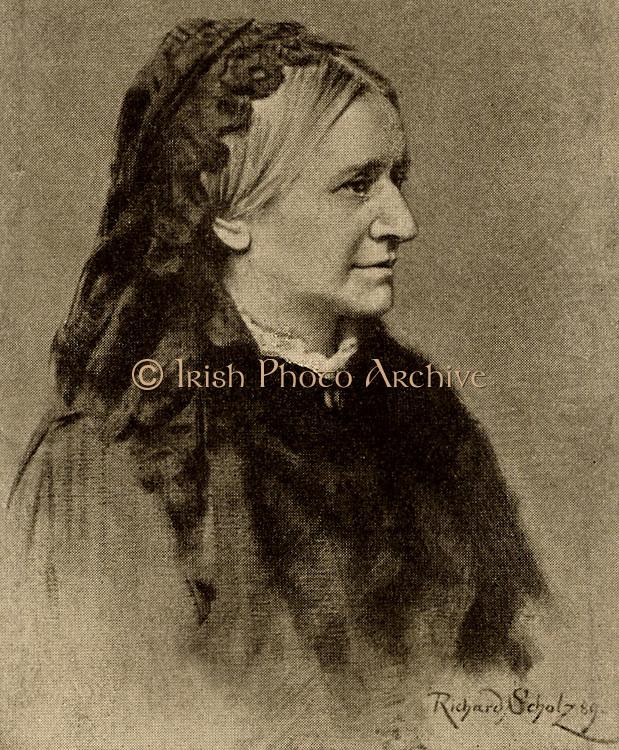 Clara Schumann (born Clara Wieck - 1819-1896) German pianist in 1889. Widow of the composer Robert Schumann. Halftone.