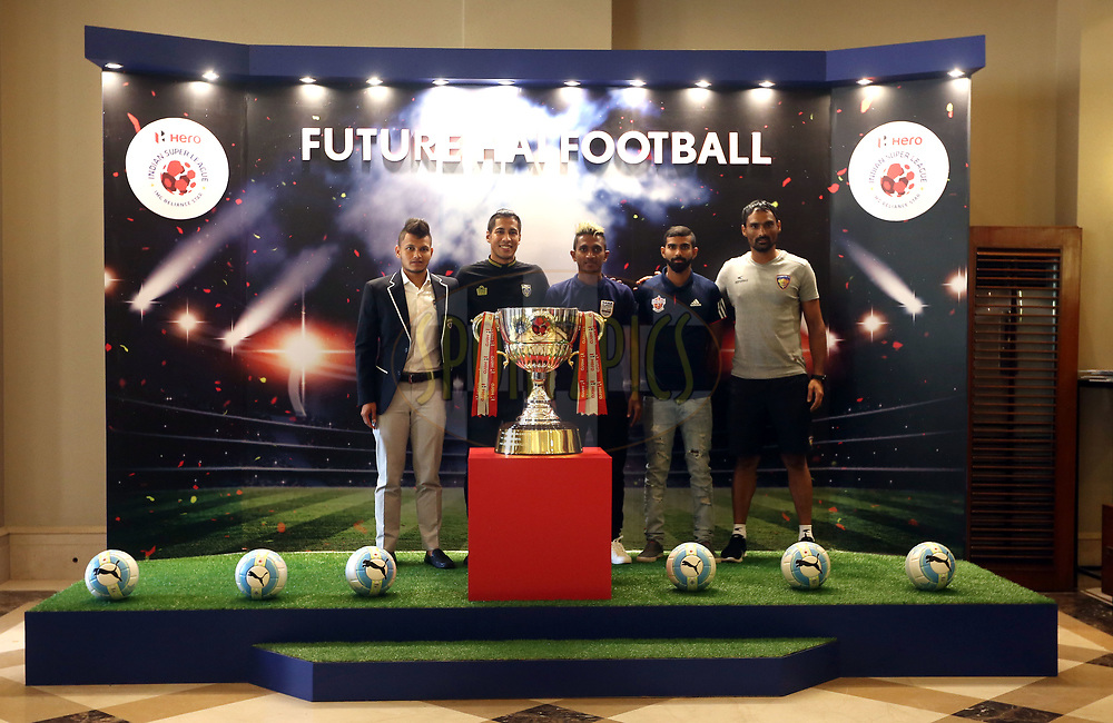 Nishu Kumar of Bengaluru FC, Arata Izumi of Kerala Blasters FC, Abinash Ruidas of Mumbai City FC, Kean Lewis of FC Pune City and Karanjit Singh of Chennaiyin FC  pose for the picture during the Hero Indian Super League media day held at the JW Marriott hotel in Juhu, Mumbai on the 10th November 2017<br /> <br /> <br /> Photo by: Sandeep Shetty / ISL / Sportzpics