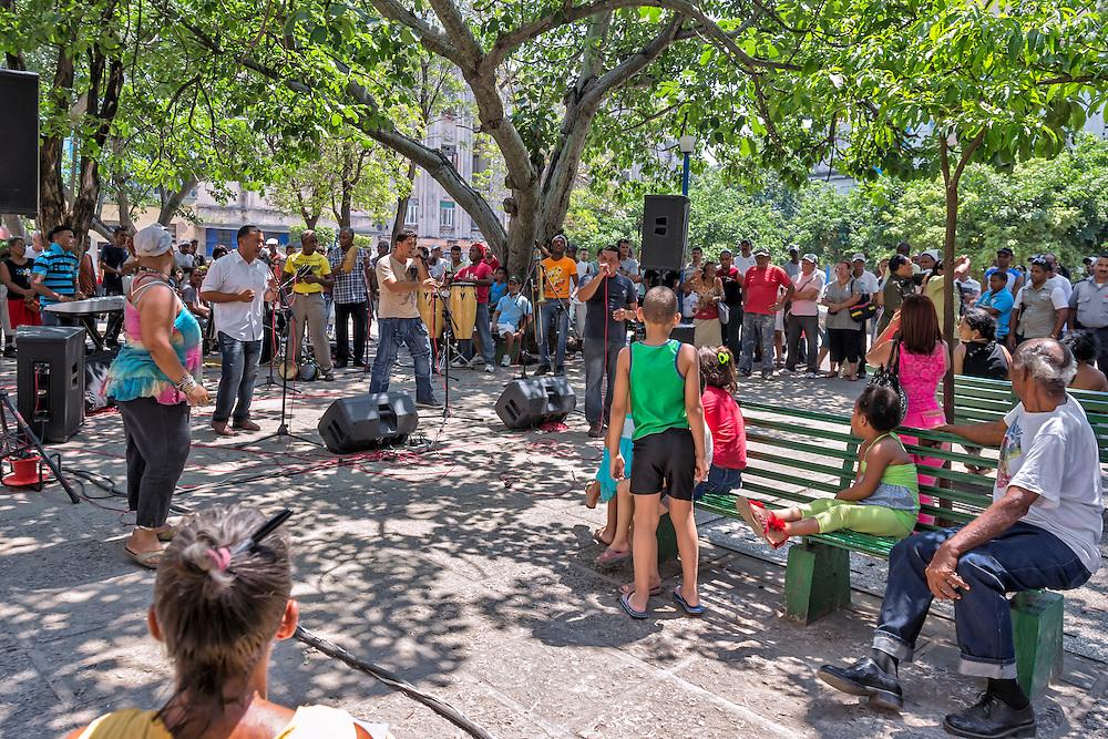 Concert in Parque Fe del Valle, Havana Centro, Cuba.