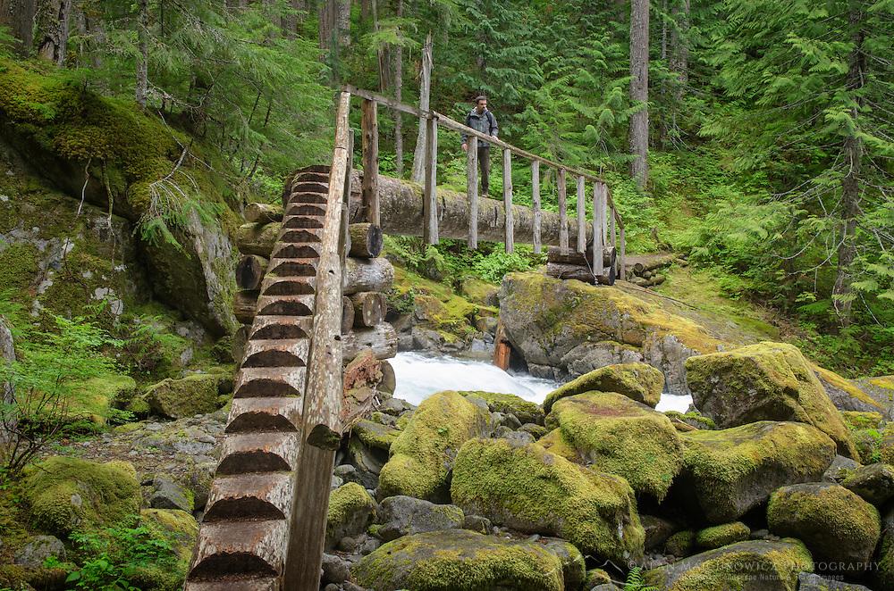 Hikers footbridge over Deception Creek, Alpine Lakes Wilderness Washington