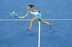 WUHAN, Sept. 24, 2017 Sorana Cirstea of Romania returns the ball during the singles' first round match against Wang Yafan of China at 2017 WTA Wuhan Open in Wuhan, capital of central China's Hubei Province, on Sept. 24, 2017. Sorana Cirstea won 2-0.  wll) (Credit Image: © Ou Dongqu/Xinhua via ZUMA Wire)