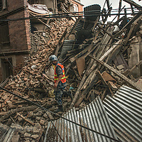 Rescue worker trying in Devastated city in Bhaktapur , Nepal