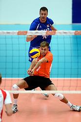 17-05-2013 VOLLEYBAL: BELGIE - NEDERLAND: KORTRIJK<br /> Nederland wint de eerste oefenwedstrijd met 3-0 van Belgie / Gijs Jorna<br /> ©2013-FotoHoogendoorn.nl