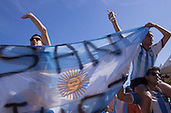 Argentina fans wave a flag at the FIFA Fan Fest, Copacabana beach, Rio de Janeiro, during the Argentina v Belgium World Cup quarter final match which was shown on big screens.<br /> Picture by Andrew Tobin/Focus Images Ltd +44 7710 761829<br /> 05/07/2014