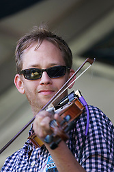 03 May 2015. New Orleans, Louisiana.<br /> The New Orleans Jazz and Heritage Festival. <br /> Courtney Granger of the Pine Leaf Boys plays Fais Do-Do stage.<br /> Photo; Charlie Varley/varleypix.com