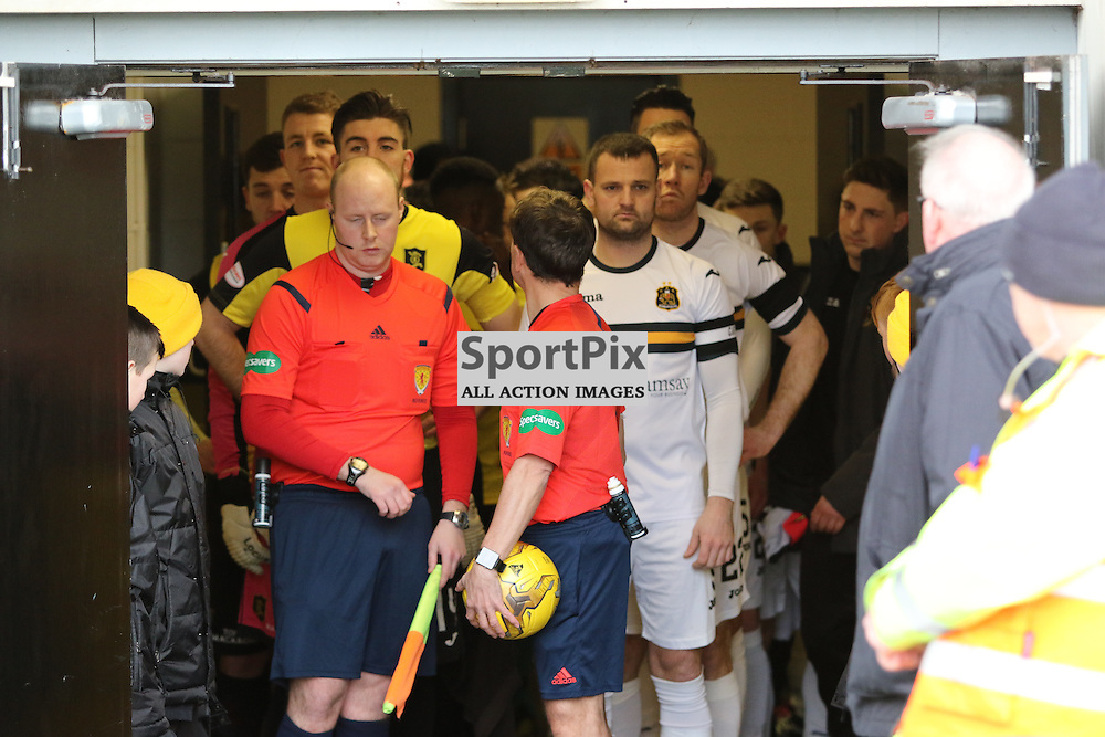 Players wait in tunnel  during the  Dumbarton v Livingston  Scottish Championship 30 January 2016<br /> <br /> (c) Andy Scott   SportPix.org.uk