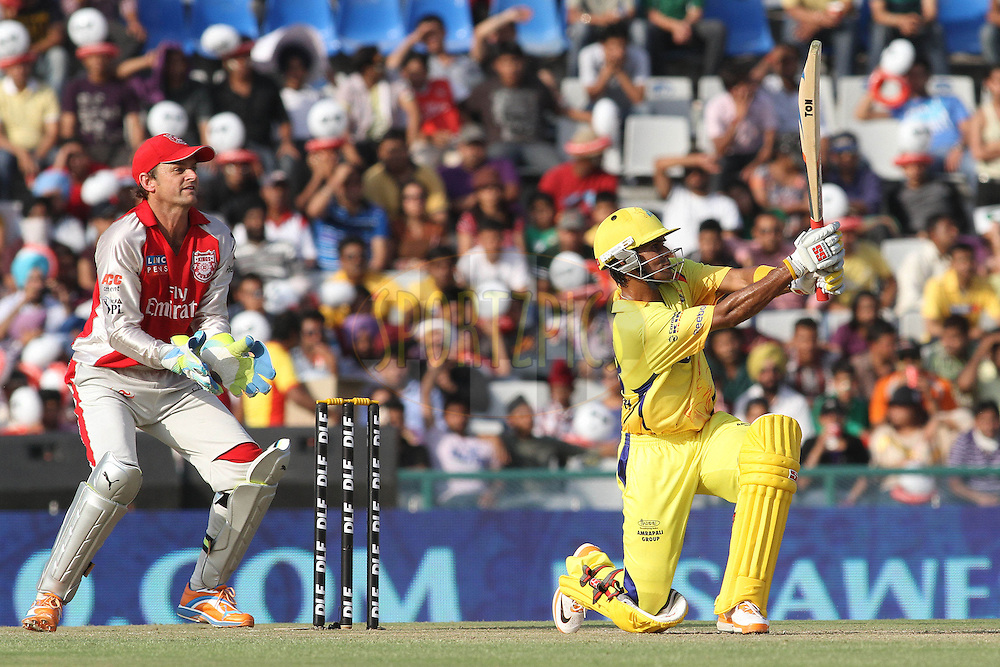 Suraj Randiv of the Chennai Super King looks on after hitting a six during match 9 of the Indian Premier League ( IPL ) Season 4 between the Kings XI Punjab and the Chennai Super Kings held at the PCA stadium in Mohali, Chandigarh, India on the 13th April 2011..Photo by Shaun Roy/BCCI/SPORTZPICS