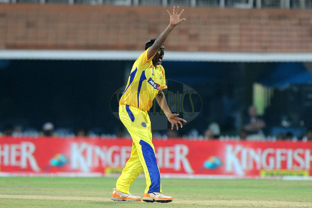 Ravichandran Ashwin of Chennai Super Kings appeals successfully for a wicket during match 3 of the NOKIA Champions League T20 ( CLT20 )between the Chennai Superkings and the Mumbai Indians held at the M. A. Chidambaram Stadium in Chennai , Tamil Nadu, India on the 24th September 2011..Photo by Pal Pillai/BCCI/SPORTZPICS