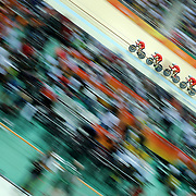 Track Cycling - Olympics: Day 6  The People's Republic of China team of Yang Fan, Hao Liu, Chenlu Qin and Pingan Shen in action during the Men's Team Pursuit race during the track cycling competition at the Rio Olympic Velodrome August 12, 2016 in Rio de Janeiro, Brazil. (Photo by Tim Clayton/Corbis via Getty Images)