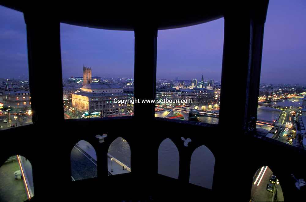 France. Paris. Elevated view on the Seine river. Seine river, city hall, Chatelet theater, Saint Jacques Tower . view from the Conciergerie Bell tower  Paris  France   Paris