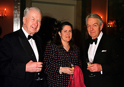 LORD & LADY WALKER OF WORCESTER and SIR NICHOLAS SCOTT former MP for Kensington & Chelsea, at a dinner in London on 29th February 2000.<br /> OBS 7