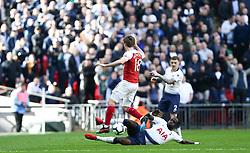 Moussa Sissoko of Tottenham Hotspur tackles Nacho Monreal of Arsenal - Mandatory by-line: Arron Gent/JMP - 02/03/2019 - FOOTBALL - Wembley Stadium - London, England - Tottenham Hotspur v Arsenal - Premier League