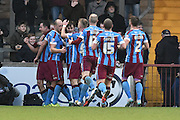 Scunthorpe celebrate Tom Hopper of Scunthorpe United  scoring to go 1-0 up  during the Sky Bet League 1 match between Scunthorpe United and Colchester United at Glanford Park, Scunthorpe, England on 23 January 2016. Photo by Ian Lyall.