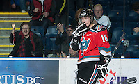 KELOWNA, CANADA - NOVEMBER 24:  Cody Fowlie #18 of the Kelowna Rockets skates on the ice after scoring a goal against the  Saskatoon Blades at the Kelowna Rockets on November 24, 2012 at Prospera Place in Kelowna, British Columbia, Canada (Photo by Marissa Baecker/Shoot the Breeze) *** Local Caption ***