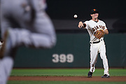 San Francisco Giants second baseman Kelby Tomlinson (37) fields a Los Angeles Dodgers ground ball at AT&T Park in San Francisco, California, on September 13, 2017. (Stan Olszewski/Special to S.F. Examiner)