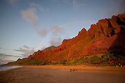Sunset, Rainbow, Kalalau Beach, Napali Coast, Kauai, Hawaii