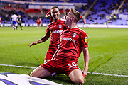 Goal Fulham midfielder Tom Cairney (10) scores a goal and celebrates 0-4 during the EFL Sky Bet Championship match between Reading and Fulham at the Madejski Stadium, Reading, England on 1 October 2019.
