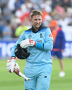 England win - Joe Root of England walks of the field after chasing down the Australian total to reach the final during the ICC Cricket World Cup 2019 semi final match between Australia and England at Edgbaston, Birmingham, United Kingdom on 11 July 2019.