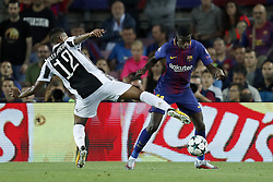(L-R) Alex Sandro of Juventus FC, Ousmane Dembele of FC Barcelona during the UEFA Champions League group D match between FC Barcelona and Juventus FC  on September 12, 2017  at the Camp Nou stadium in Barcelona, Spain.