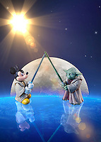 A galactic battle of Disney versus Star Wars as Mickey Mouse and Yoda Battle For For The Toon Title.<br />