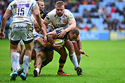 Wasps centre Gaby Lovobalavu  is tackled short during the Aviva Premiership match between Wasps and Exeter Chiefs at the Ricoh Arena, Coventry, England on 18 February 2018. Picture by Dennis Goodwin.