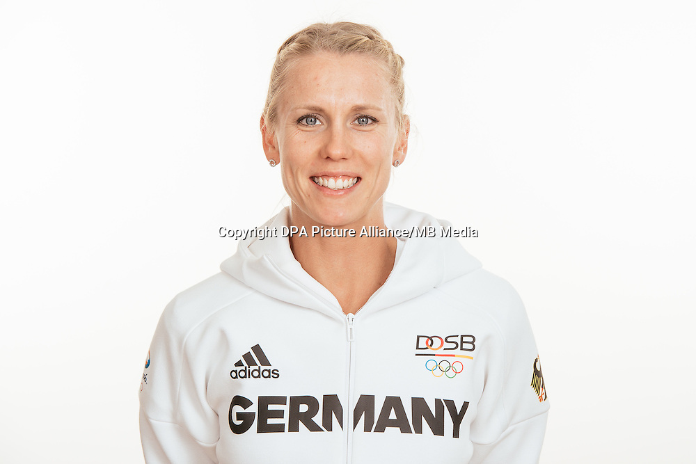 Carla Borger poses at a photocall during the preparations for the Olympic Games in Rio at the Emmich Cambrai Barracks in Hanover, Germany, taken on 18/07/16 | usage worldwide