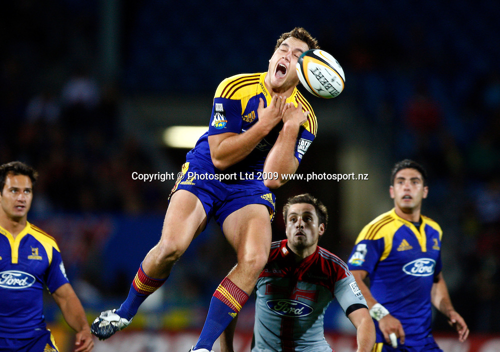 during a Super 14 rugby match, Otago Highlanders versus Canterbury Crusaders. Carisbrook, Dunedin, New Zealand. Saturday 7 March 2009. Photo: Simon Watts/PHOTOSPORT