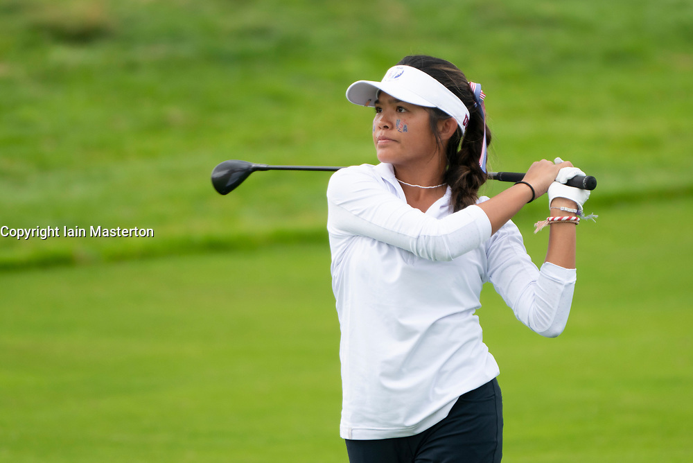 Auchterarder, Scotland, UK. 10 September 2019. Day one of the Junior Solheim Cup 2019 at the Centenary Course at Gleneagles. Tuesday Morning Foursomes. Pictured Briana Navarrosa of USA.  Iain Masterton/Alamy Live News