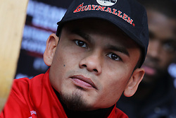 """Feb 23; St. Louis, MO, USA; Marcos Maidana during the final press conference for the February 25, 2012 fight card """"Arch Enemies"""".  Maidana will face Devon Alexander in the main event.  Mandatory Credit: Ed Mulholland"""