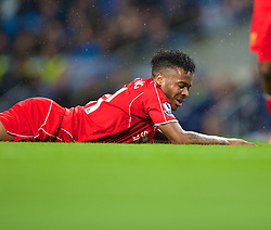 MANCHESTER, ENGLAND - Monday, August 25, 2014: Liverpool's Raheem Sterling looks dejected after missing a chance against Manchester City during the Premier League match at the City of Manchester Stadium. (Pic by David Rawcliffe/Propaganda)