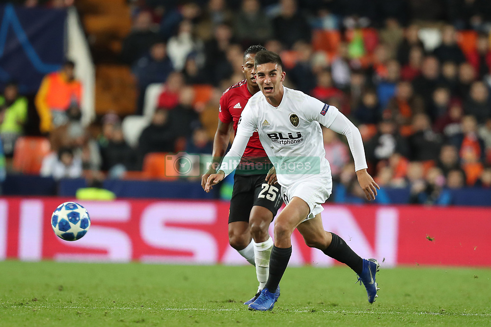 December 12, 2018 - Valencia, Spain - December 12, 2018 - Valencia, Spain - .Ferran Torres of Valencia during the UEFA Champions League, Group H football match between Valencia CF and Manchester United on December 12, 2018 at Mestalla stadium in Valencia, Spain (Credit Image: © Manuel Blondeau via ZUMA Wire)