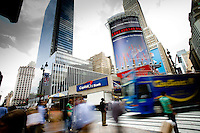 New York, New York - A Deutsche Bank billboard located on the corner of 33rd Street and 7th Avenue in New York City depicting the rate of carbon emissions.