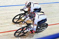 02-03-2018 BAANWIELRENNEN: UCI WK BAANWIELRENNEN: APELDOORN<br /> Pauline Sophie Grabosch (GER) wint uiteindelijk brons en Kristina Vogel (GER) goud op de Womens Sprint<br /> <br /> Foto: Margarita Bouma