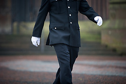 © Licensed to London News Pictures . 02/11/2015 . Liverpool , UK . Police in dress uniform and white gloves at the funeral of Police Constable Dave Phillips , at Liverpool Cathedral . Five people are charged in connection with his death , including Clayton Williams , 18 , from Wallasey , who is charged with murder . Photo credit: Joel Goodman/LNP