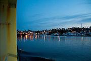 Approaching Friday Harbor at Dusk Aboard the MV Elwha Ferry, San Juan Island, Washington, US