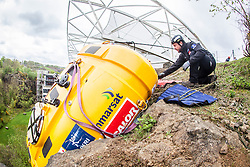 Nick Hancock getting in some winch practise with his Rock Pod, at the Edinburgh International Climbing Arena, for his 60 day Rockall Solo 2014 endurance expedition. Nick will use the Rock Pod, a modified plastic water tank, to live for two months on Rockall, a uninhabited remote granite islet, hundreds of miles off Scotland in the north Atlantic, in order to raise funds for Help for Heroes.